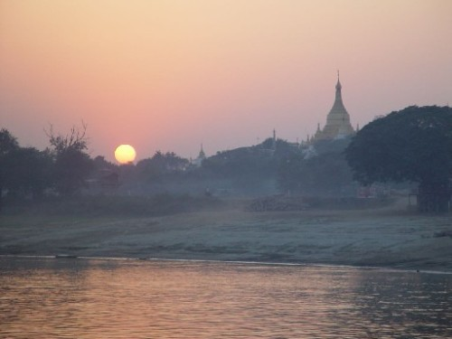 sunset at sagaing burma