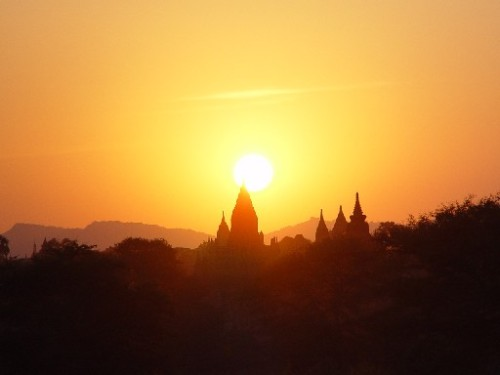 sunset over bagan temple burma