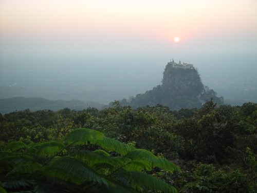sunset over popa mountain burma